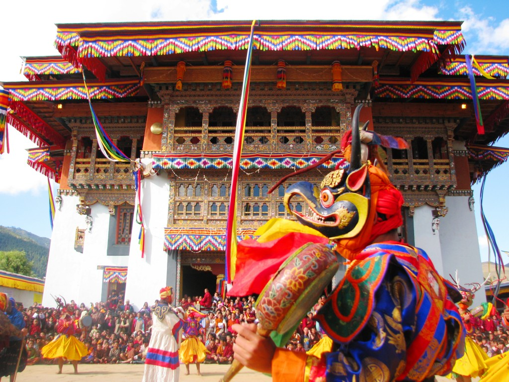 religion buddh. Dance, with Garuda head in front of Gangteng Gompa